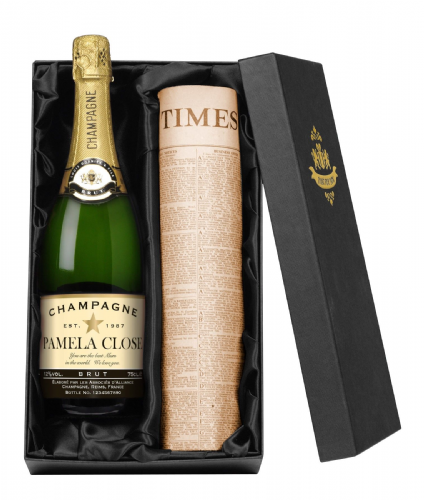 Personalised Champagne with Newspaper Giftpack